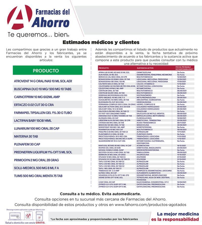 Anuncio Farmacias del Ahorro edición CDMX del 13 de Agosto del 2021, Página 16