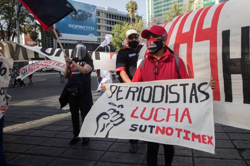 Trabajadores de Notimex, integrantes del Sindicato Unico, se han manifestado en diversas ocasiones FOTO: VICTORIA VALTIERRA/CUARTOSCURO.COM