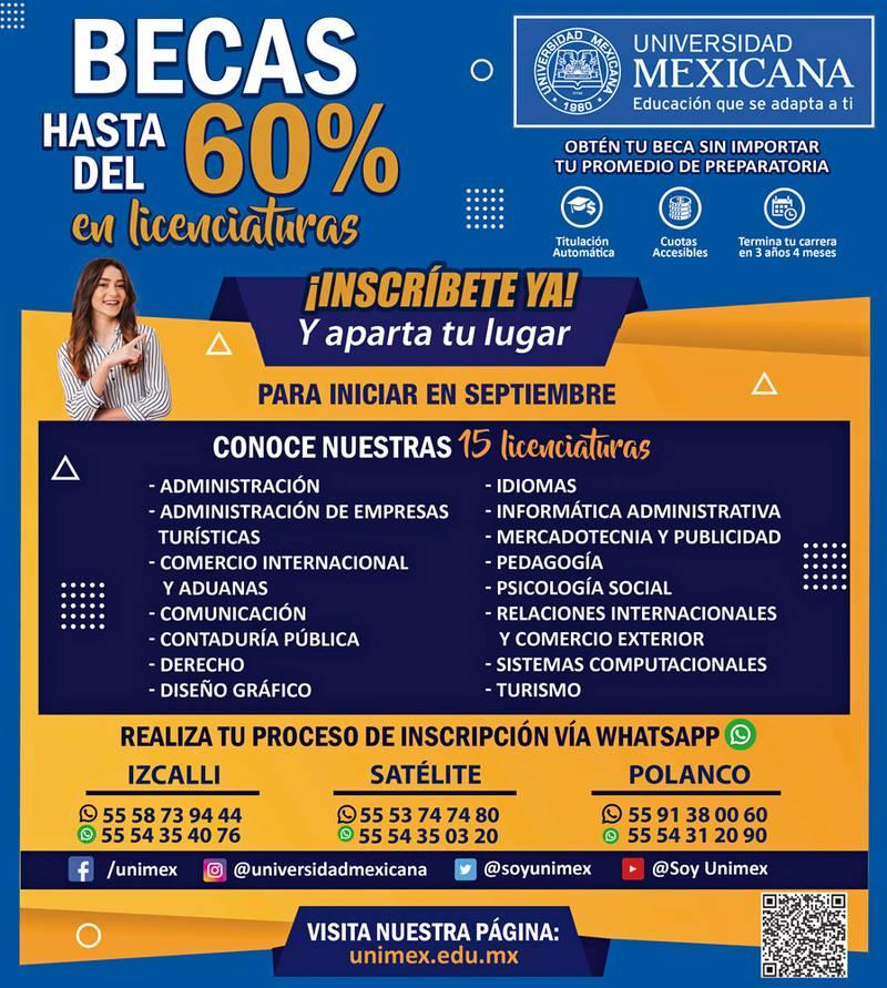 Anuncio Universidad Mexicana edición CDMX del 13 de Agosto del 2021, Página 11