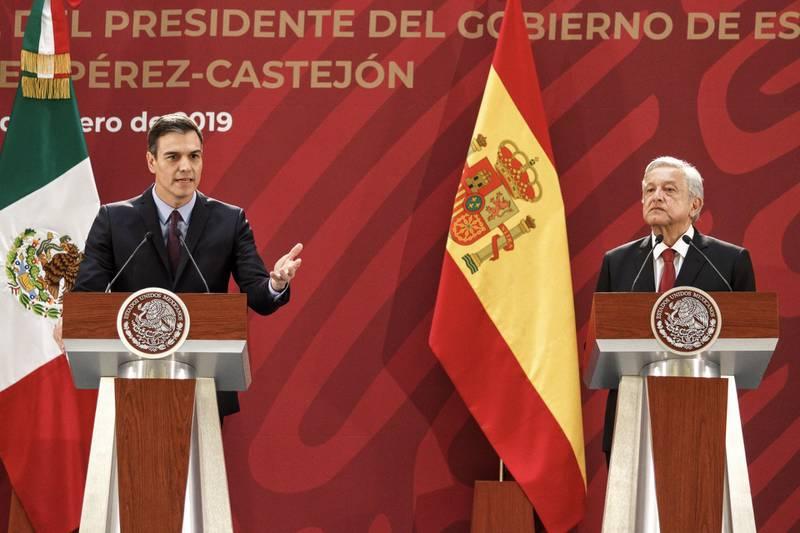 La primera reunión bilateral de AMLO fue con Pedro Sánchez Pérez-Castrejón, presidente del Gobierno de España.