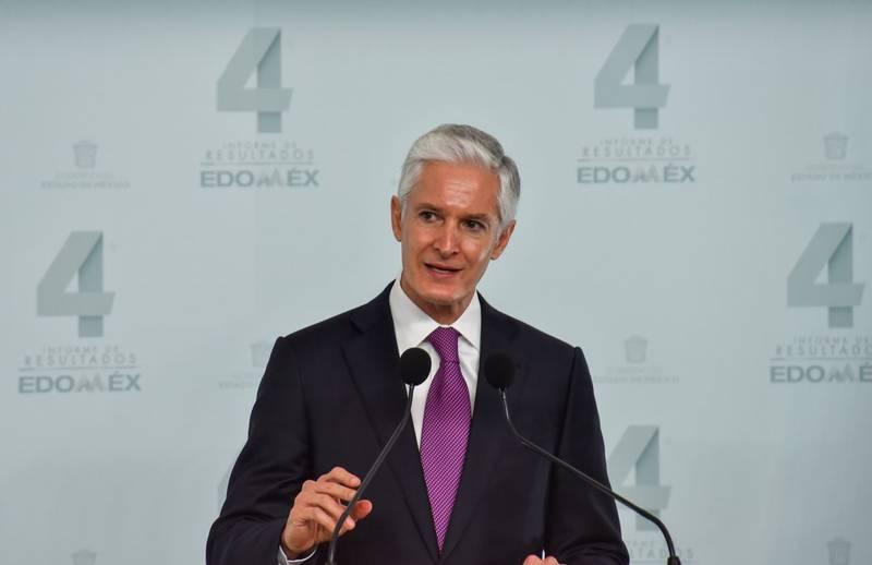Alfredo del Mazo Maza, Gobernador del Estado de México presentó su Cuarto Informe de Labores en Palacio de Gobierno, acompañado por pocos invitados como medida ante la pandemia por COVID-19 y teniendo como sede Palacio de Gobierno.