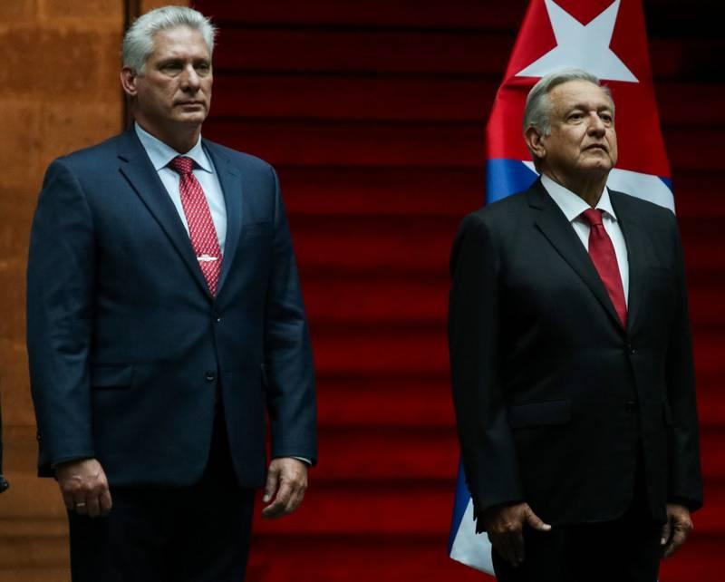 Miguel Díaz-Canel, presidente de Cuba, durante su visita a México en 2019
